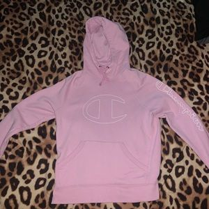 baby pink champion hoodie